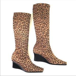 Sesto Meucci  Leopard Print Wedge Tall Boots